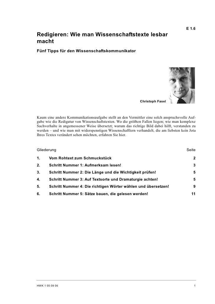 E 1.6 Redigieren: Wie man Wissenschaftstexte lesbar macht Fünf Tipps für den Wissenschaftskommunikator                    ...