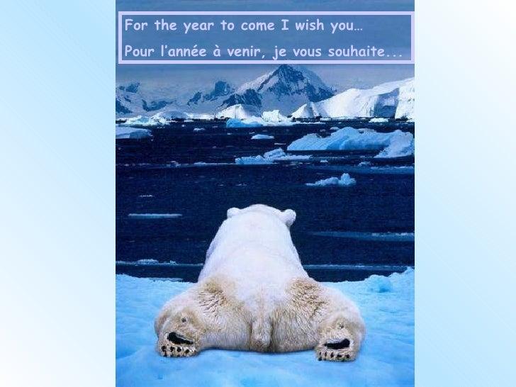 For the year to come I wish you… Pour l'année à venir, je vous souhaite...