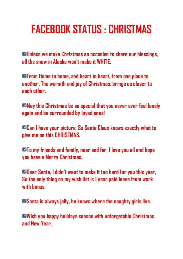 FACEBOOK STATUS : CHRISTMAS Unless we make Christmas an occasion to share our blessings, all the snow in Alaska won't make...