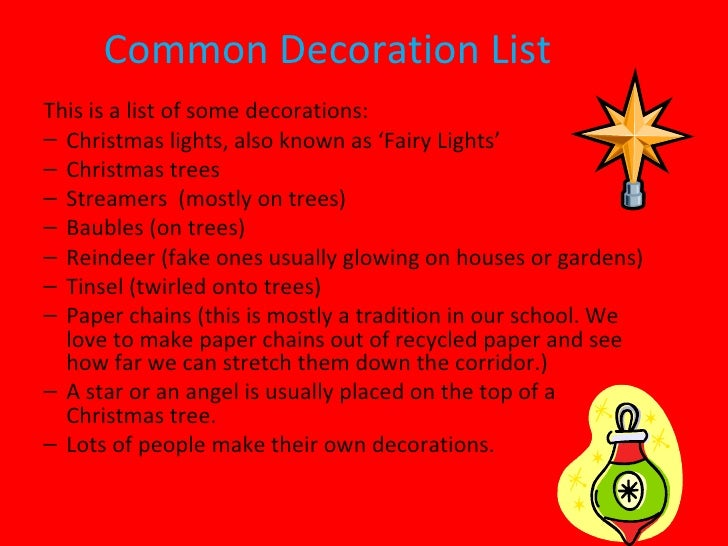 Christmas decorations for Decoration list