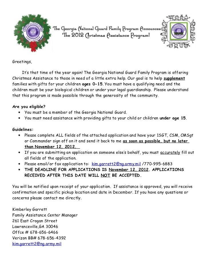 Greetings,     It's that time of the year again! The Georgia National Guard Family Program is offeringChristmas Assistance...