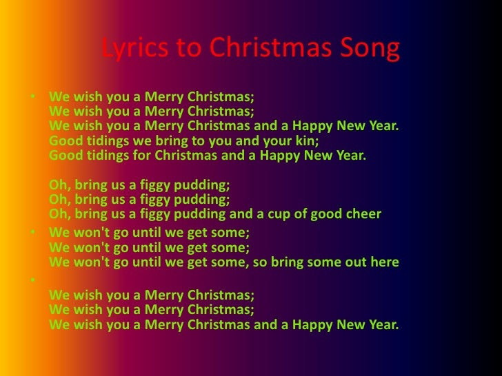 Merry Christmas Song Lyrics Lyrics to Christmas Song