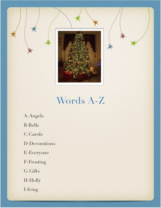 Christmas word A-Z