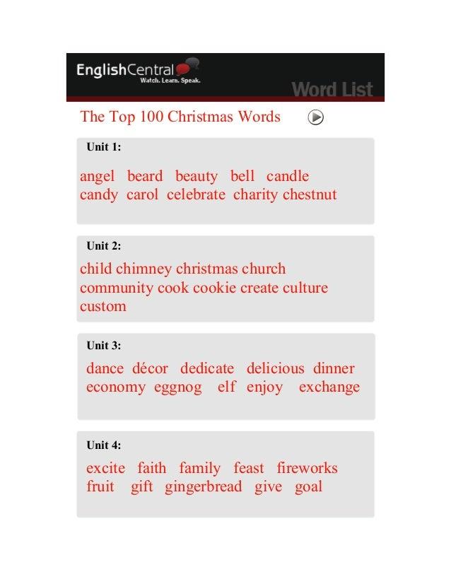 Christmas wordlist