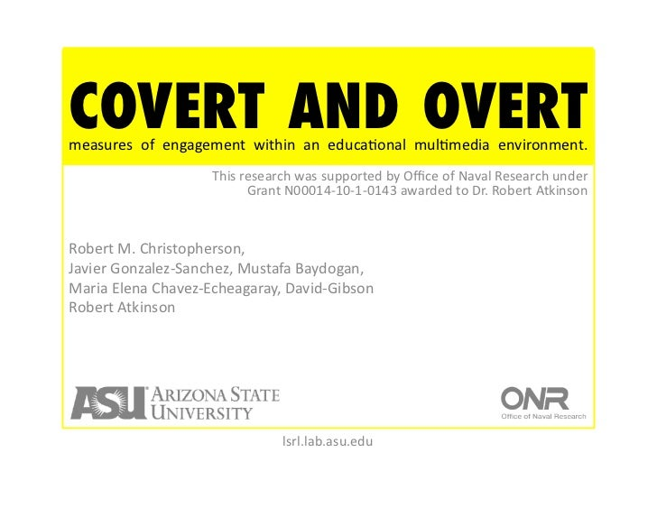 COVERT AND OVERTmeasures  of  engagement  within  an  educaNonal  mulNmedia  environment.               ...