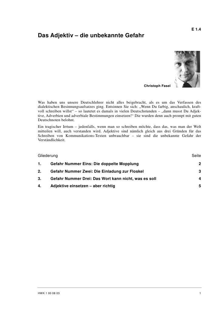 E 1.4 Das Adjektiv – die unbekannte Gefahr                                                                   Christoph Fas...