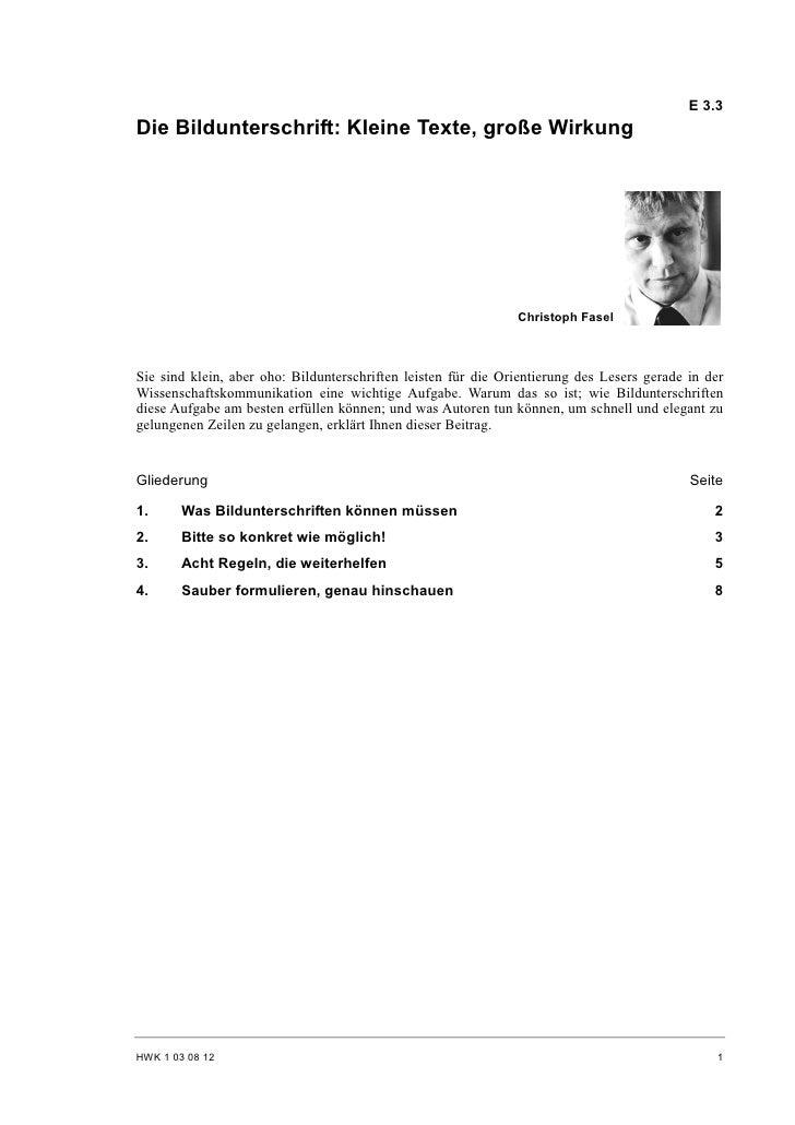 Christoph Fasel: Die Bildunterschrift