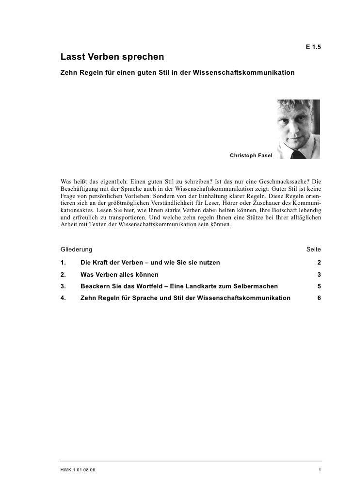 E 1.5 Lasst Verben sprechen Zehn Regeln für einen guten Stil in der Wissenschaftskommunikation                            ...