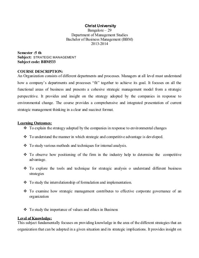 Christ University Bangalore – 29 Department of Management Studies Bachelor of Business Management (BBM) 2013-2014 Semester...