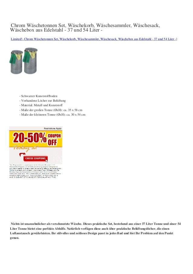 Chrom Wäschetonnen Set, Wäschekorb, Wäschesammler, Wäschesack,Wäschebox aus Edelstahl - 37 und 54 Liter -Limited!- Chrom W...