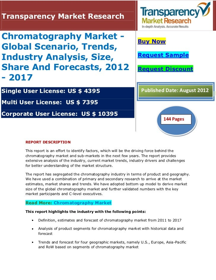 Transparency Market ResearchChromatography Market -                                               Buy NowGlobal Scenario, ...