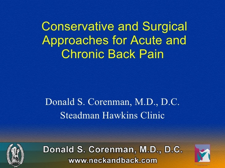 Chronic Back Pain | Conservative Treatment for Back Pain | Surgical Treatment for Back Pain
