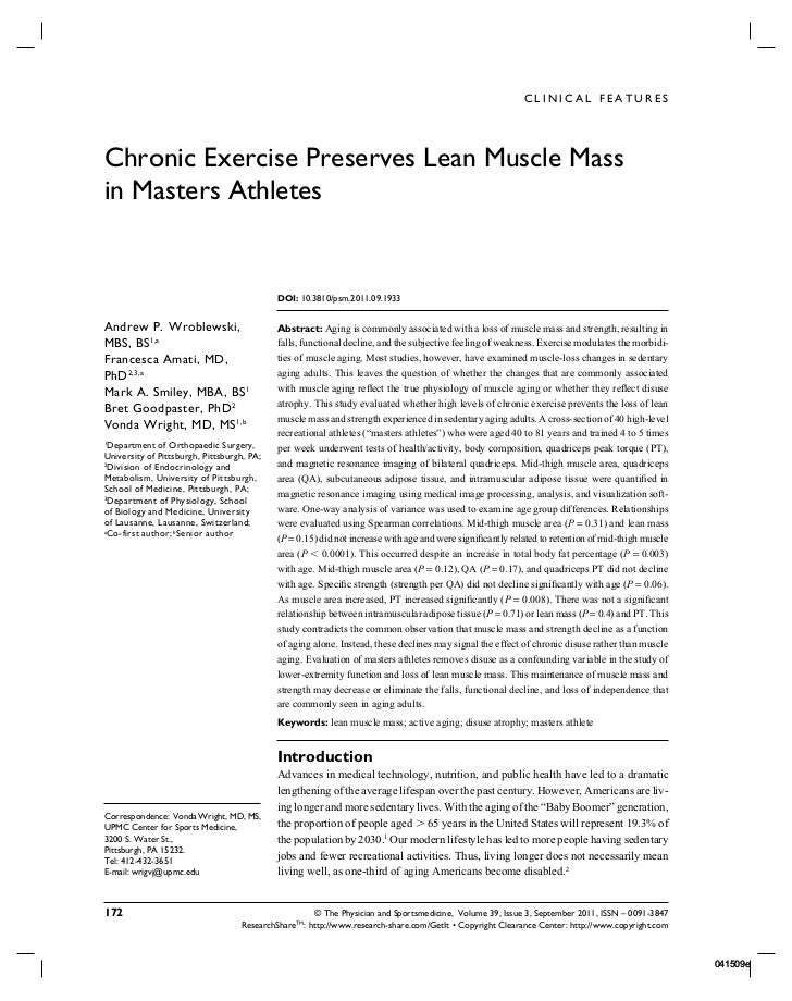 CLINICAL FEATURESChronic Exercise Preserves Lean Muscle Massin Masters Athletes                                           ...