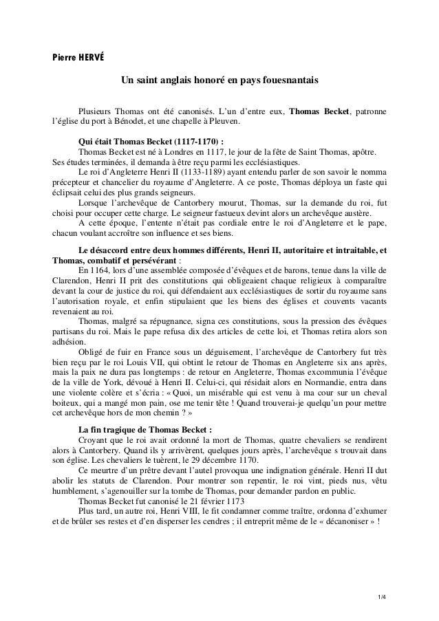 Pierre HERVÉ Un saint anglais honoré en pays fouesnantais Plusieurs Thomas ont été canonisés. L'un d'entre eux, Thomas Bec...