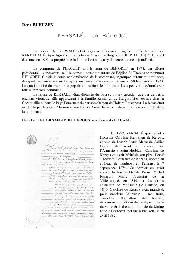 René BLEUZEN  KERSALÉ, en Bénodet La ferme de KERSALÉ était également connue naguère sous le nom de KERDALAHÉ (qui figure ...