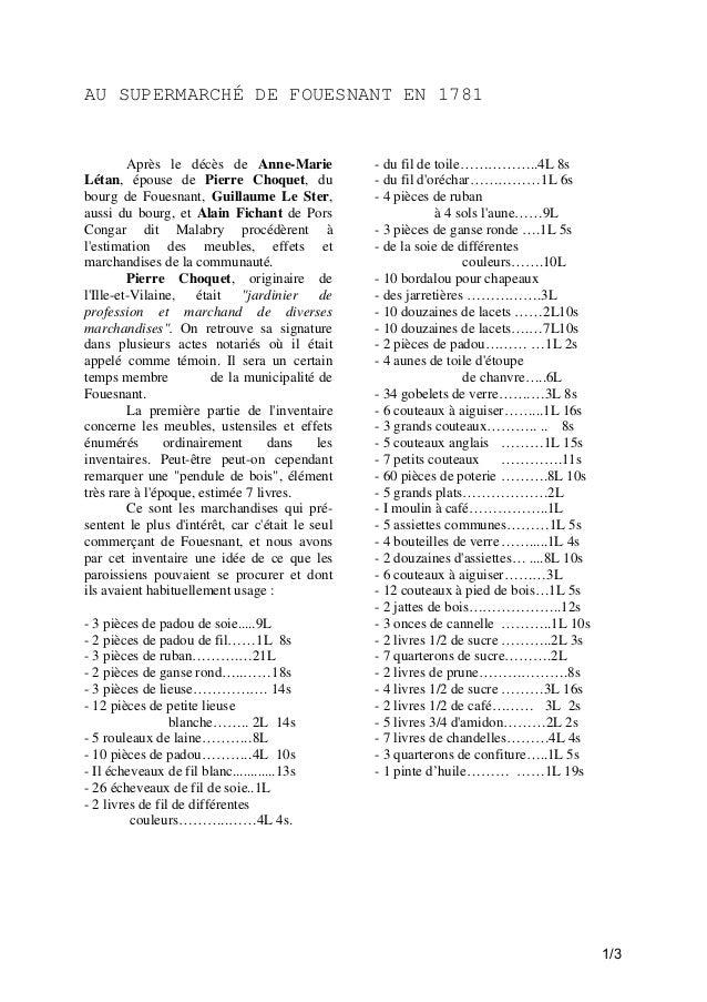 AU SUPERMARCHÉ DE FOUESNANT EN 1781  Après le décès de Anne-Marie Létan, épouse de Pierre Choquet, du bourg de Fouesnant, ...