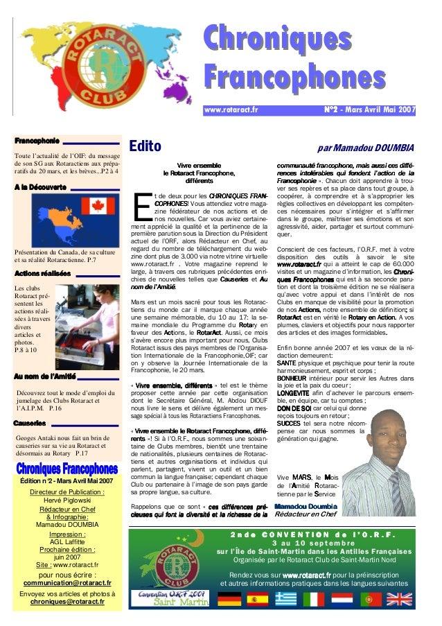 Édition n° 2 - Mars Avril Mai 2007  Directeur de Publication :  Hervé Piglowski  Rédacteur en Chef  & Infographie:  Mamado...