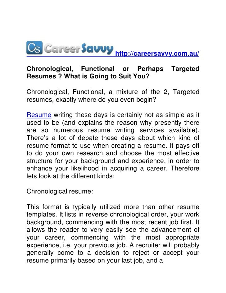 http://careersavvy.com.au/Chronological, Functional or Perhaps               TargetedResumes ? What is Going to Suit You?C...