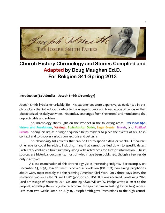 Chronology of the Restoration Updated July 2013