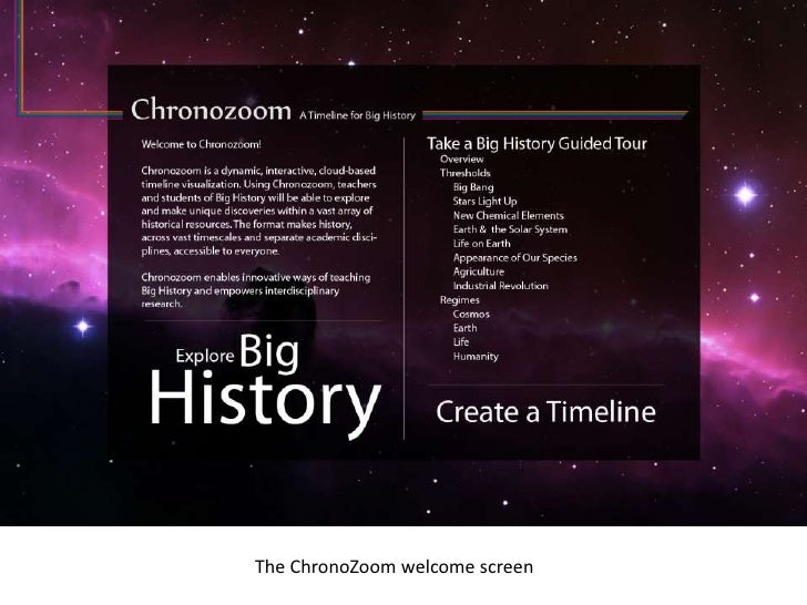 The ChronoZoom welcome screen