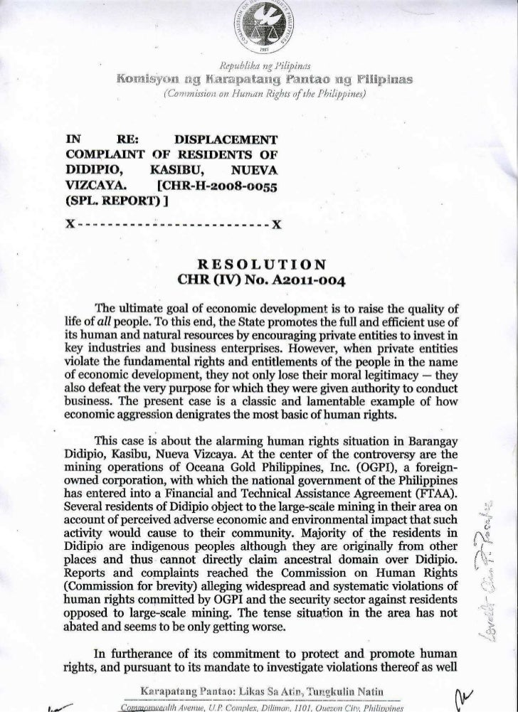 Commission on Human Rights of The Philippines (CHR) - RESOLUTION ON DISPLACEMENT COMPLAINT OF RESIDENTS OF DIDIPIO, KASIBU, NUEVA VIZCAYA V. Oceana Gold Philippines, Inc. (OGPI)
