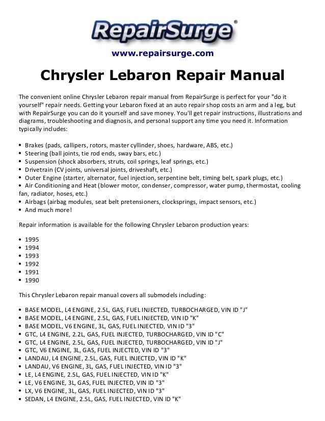 ... Repair ManualThe convenient online Chrysler Lebaron repair manual from
