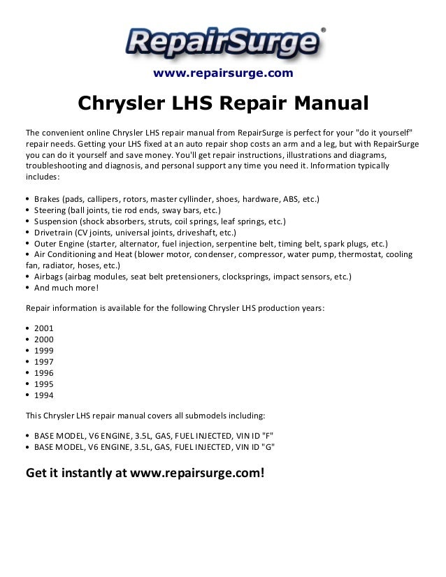 chrysler lhs repair manual 1994 2001. Black Bedroom Furniture Sets. Home Design Ideas