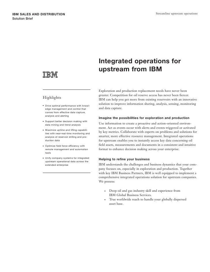 IBM SALES AND DISTRIBUTION                                                                              Streamline upstrea...