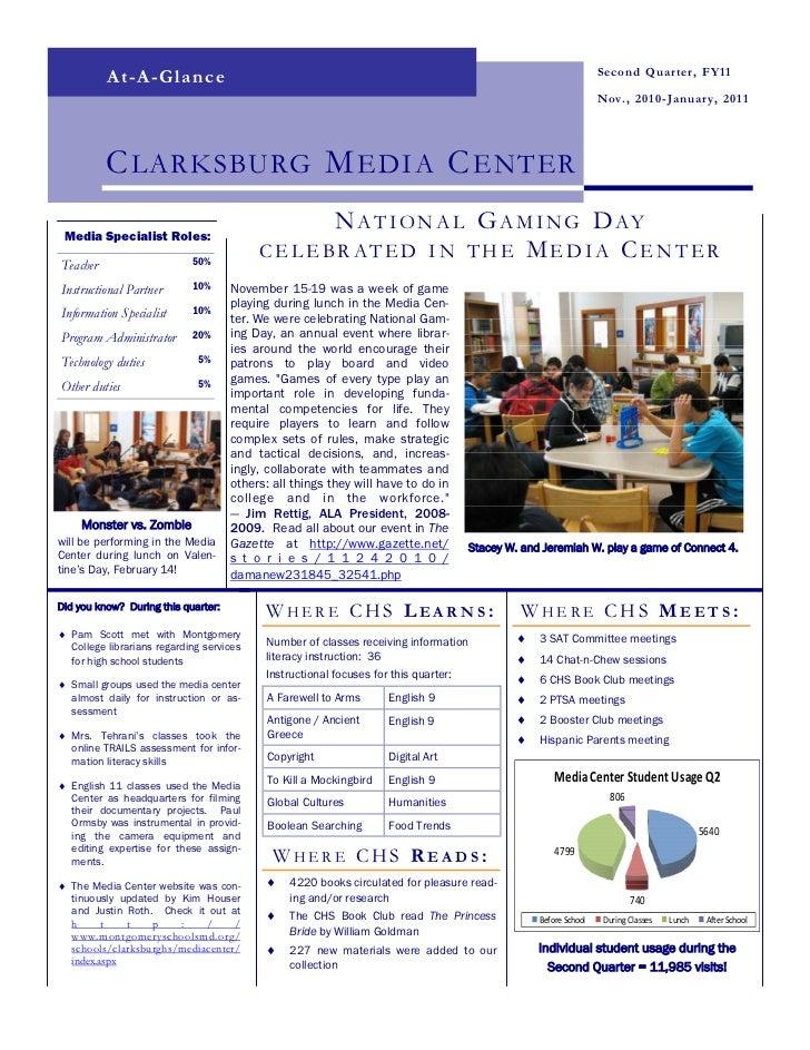 Clarksburg HS Media Center - 2010-2011 Quater 2 Newsletter