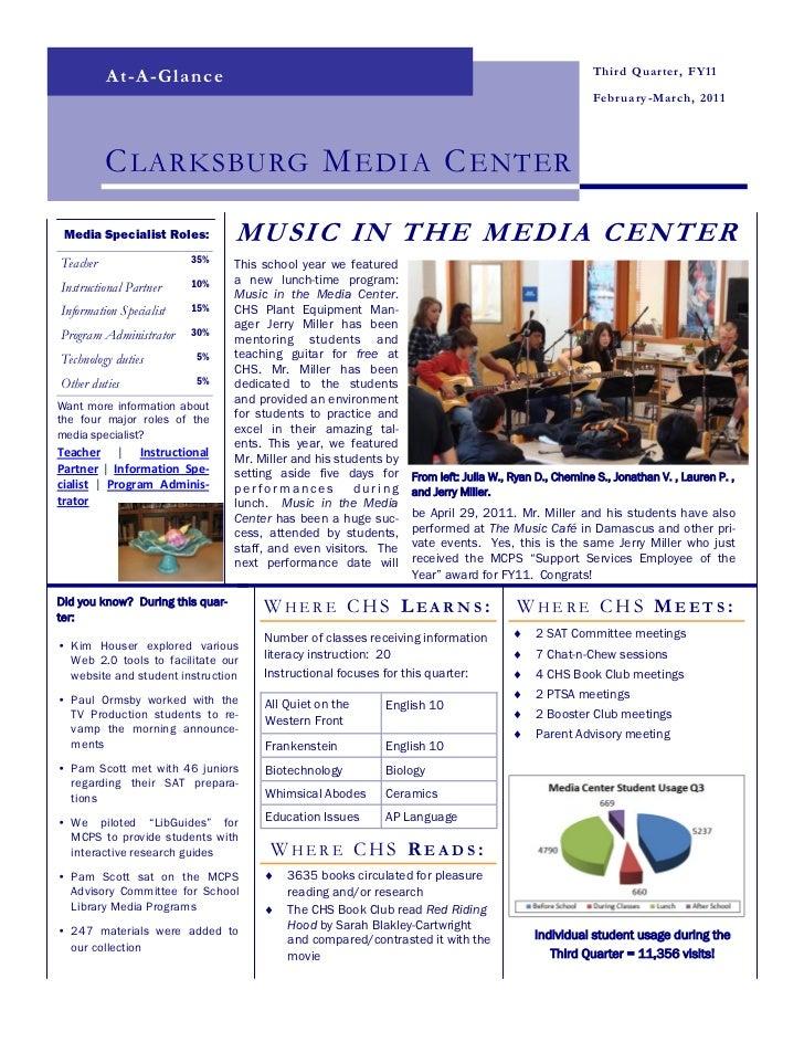 Clarksburg HS Media Center - 2010-2011 Quarter 3 Newsletter