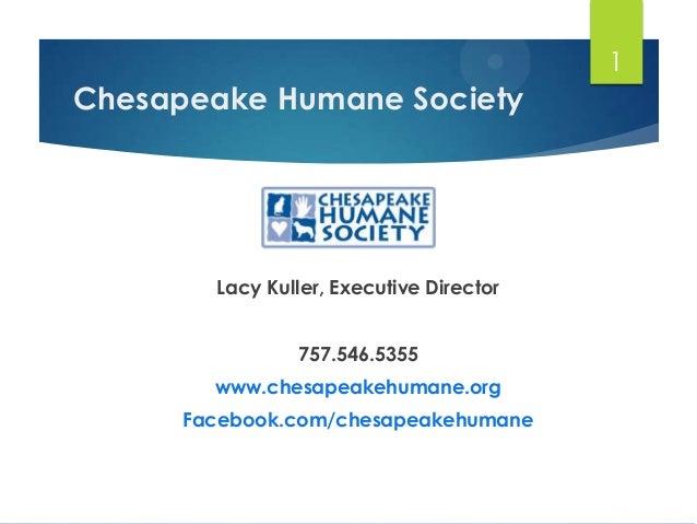 1  Chesapeake Humane Society  Lacy Kuller, Executive Director 757.546.5355 www.chesapeakehumane.org  Facebook.com/chesapea...