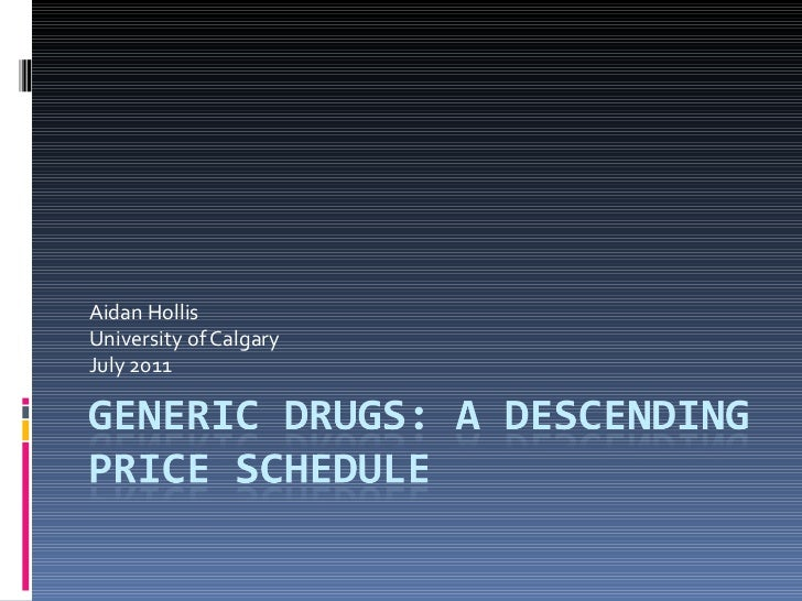 What if: A sliding scale were used to reimburse generic drugs to effectively drive down prices?