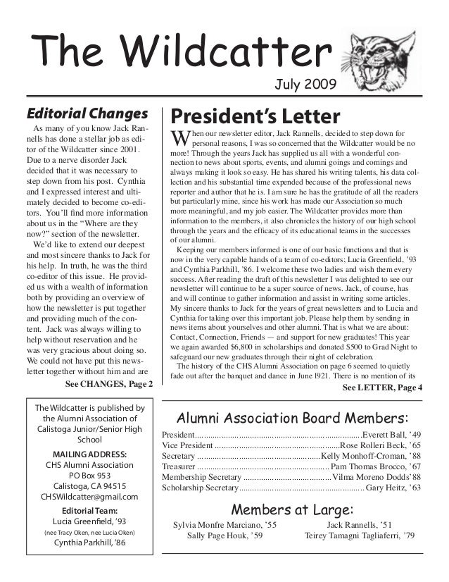The WildcatterJuly 2009The Wildcatter is published bythe Alumni Association ofCalistoga Junior/Senior HighSchoolMAILING AD...