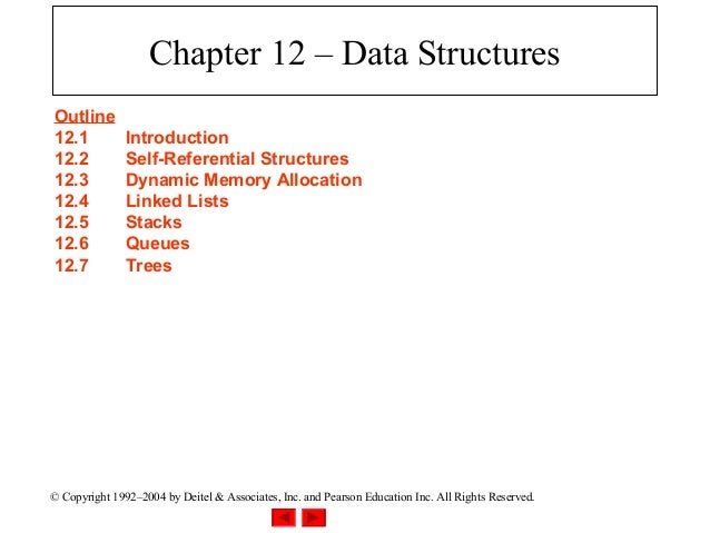 Chapter 12 – Data StructuresOutline12.1           Introduction12.2           Self-Referential Structures12.3           Dyn...