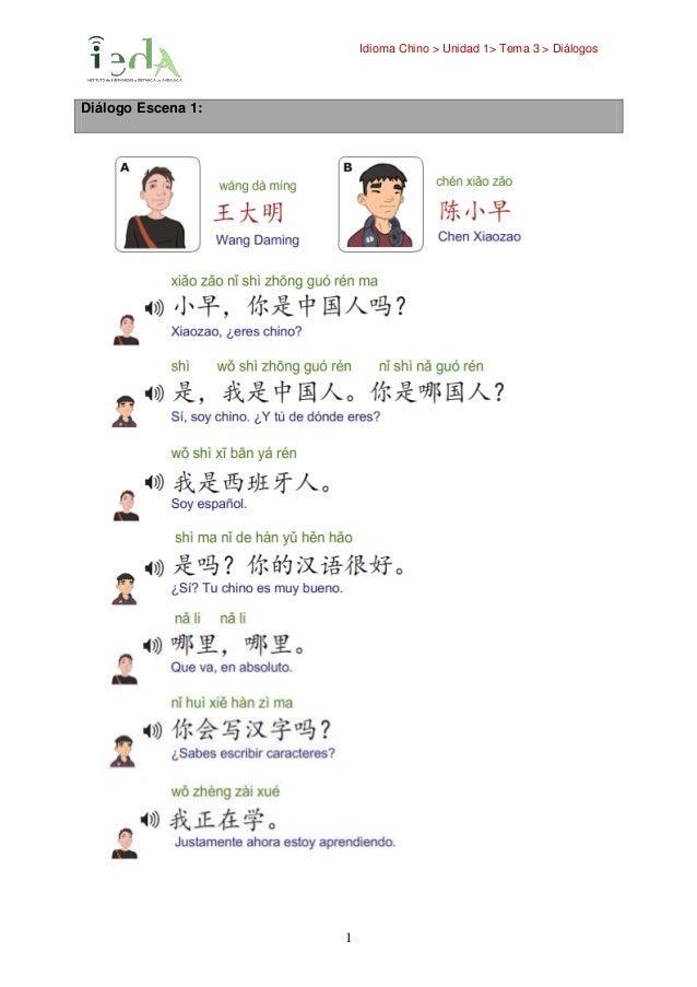 Idioma Chino > Unidad 1> Tema 3 > Diálogos 1 Diálogo Escena 1: