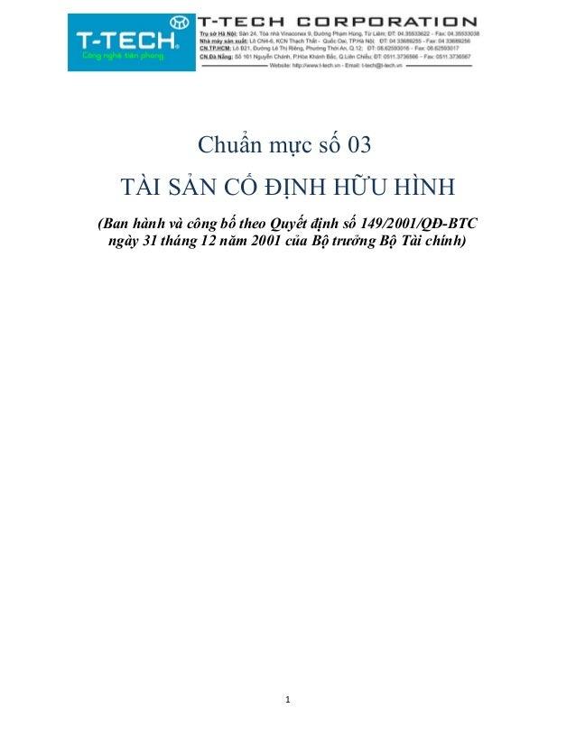 Chuẩn mực số 03 TÀI SẢN CỐ ĐỊNH HỮU HÌNH (Ban hành và công bố theo Quyết định số 149/2001/QĐ-BTC ngày 31 tháng 12 năm 2001...