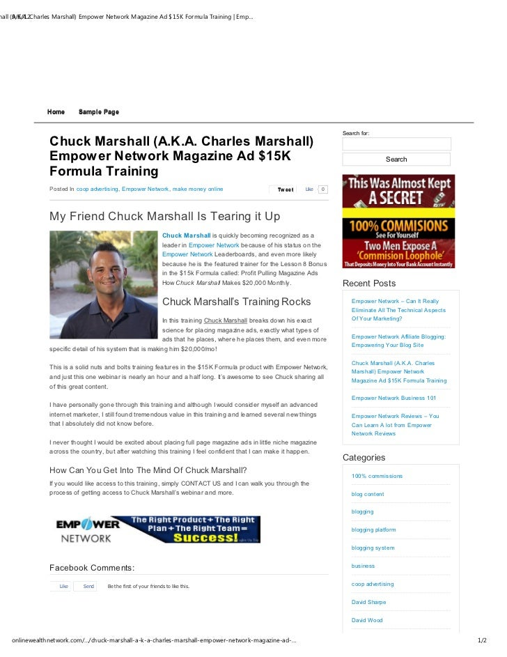 hall (A.K.A. Charles Marshall) Empower Network Magazine Ad $15K Formula Training | Emp…      9/6/12                Home   ...