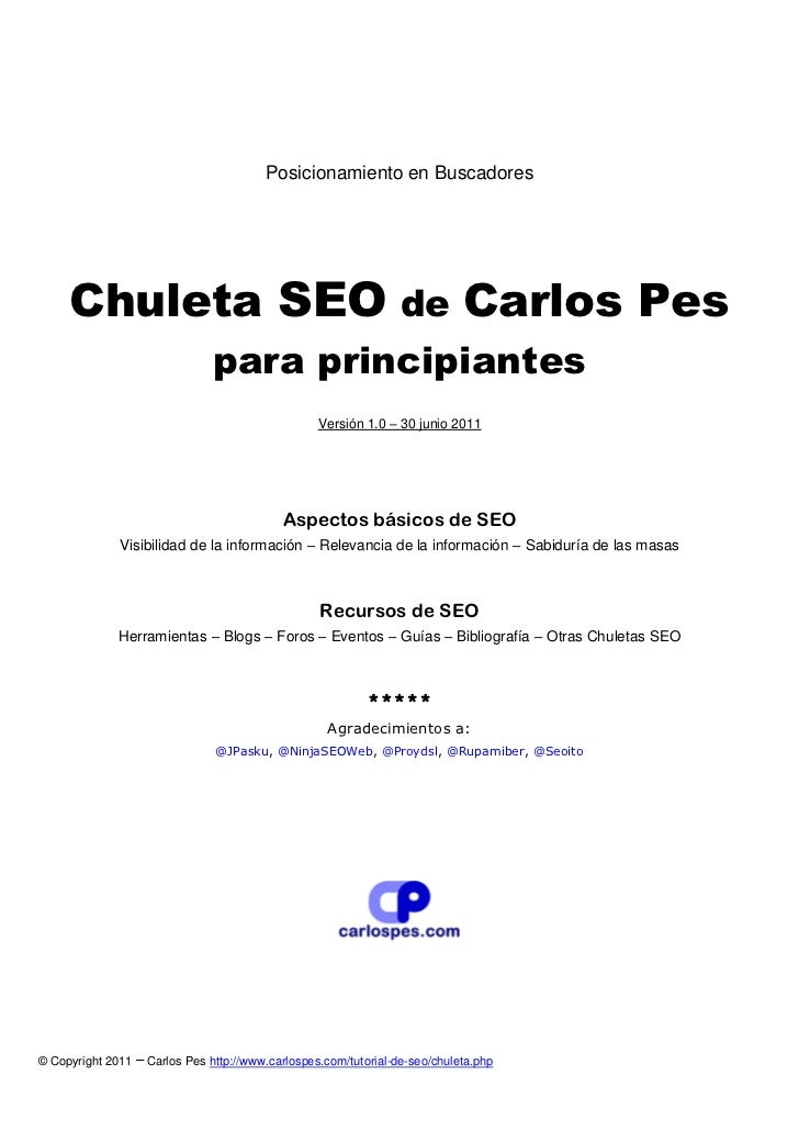 Posicionamiento en Buscadores     Chuleta SEO de Carlos Pes                               para principiantes              ...