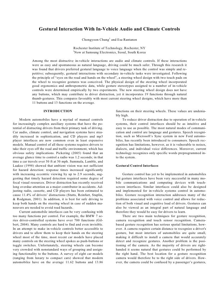 Gestural Interaction With In-Vehicle Audio and Climate Controls                                                    Chongyo...