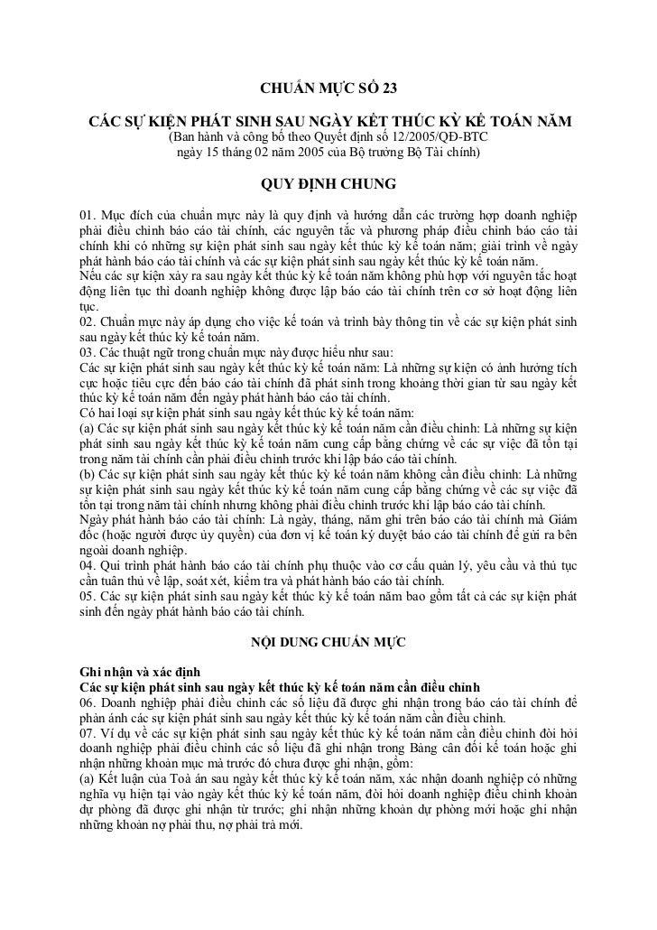 CHUẨN MỰC SỐ 23 CÁC SỰ KIỆN PHÁT SINH SAU NGÀY KẾT THÚC KỲ KẾ TOÁN NĂM                (Ban hành và công bố theo Quyết định...