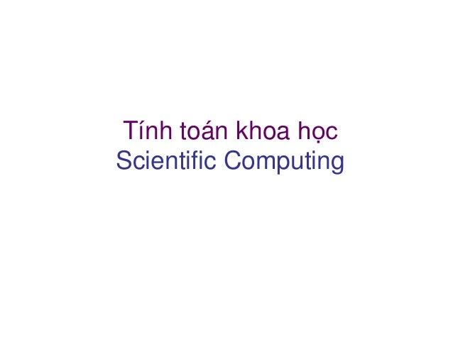 Tính toán khoa học - Chương 0: Introduction