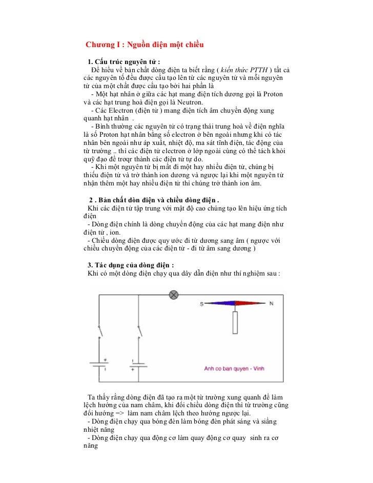 Chương I : Nguồn điện một chiều 1. Cấu trúc nguyên tử :   Để hiểu về bản chất dòng điện ta biết rằng ( kiến thức PTTH ) tấ...