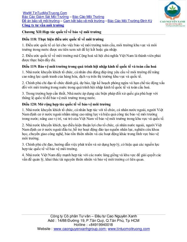 WwW.TinTucMoiTruong.ComBáo Cáo Giám Sát Môi Trường – Báo Cáo Môi TrườngĐề án bảo vệ môi trường – Cam kết bảo vệ môi trường...