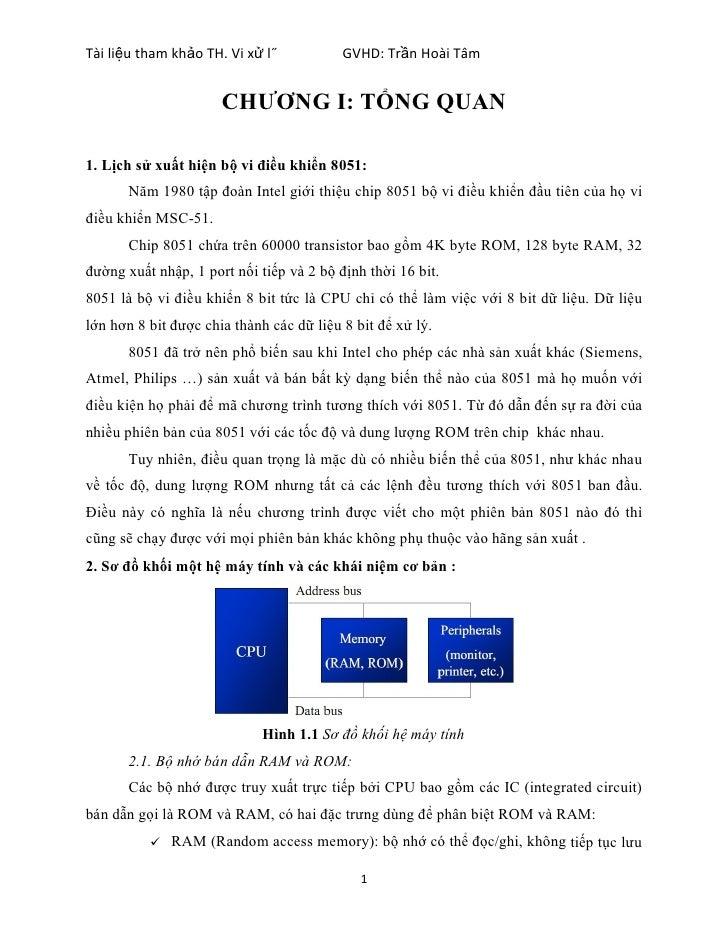 Tài liệu tham khảo TH. Vi xử lý           GVHD: Trần Hoài Tâm                      CHƯƠNG I: TỔNG QUAN1. Lịch sử xuất hiện...