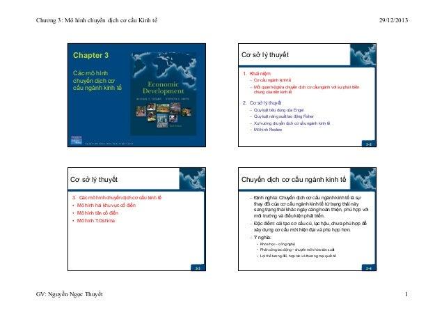 Chương 3: Mô hình chuyển dịch cơ cấu Kinh tế  29/12/2013  Chapter 3  Cơ sở lý thuyết  Các mô hình chuyển dịch cơ cấu ngành...