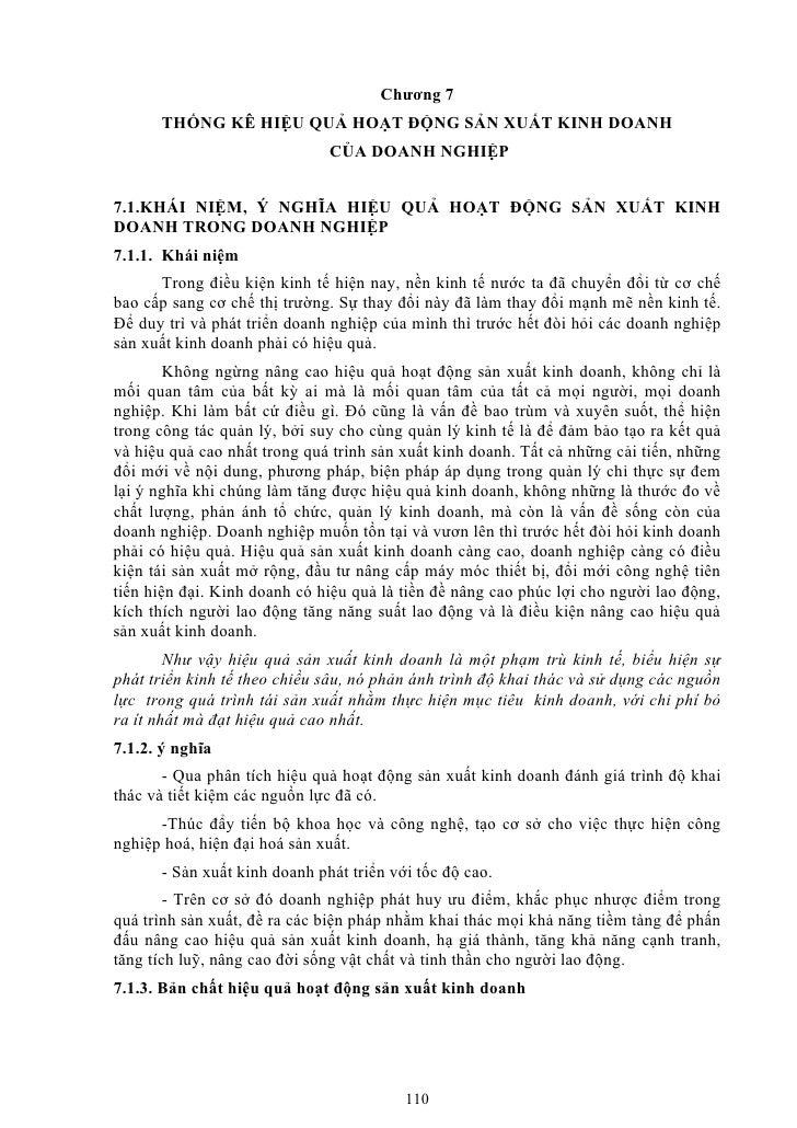 Chương 7      THỐNG KÊ HIỆU QUẢ HOẠT ĐỘNG SẢN XUẤT KINH DOANH                              CỦA DOANH NGHIỆP7.1.KHÁI NIỆM, ...