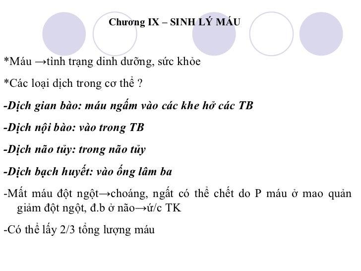 Chuong 9 sinh ly mau