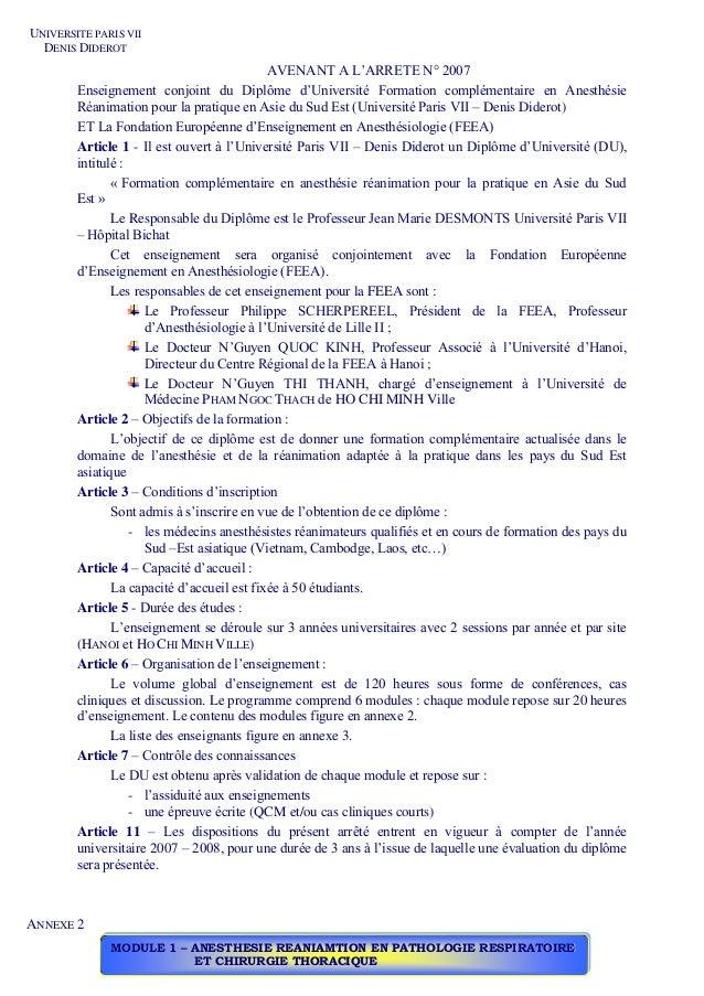 UNIVERSITE PARIS VII DENIS DIDEROT AVENANT A L'ARRETE N° 2007 Enseignement conjoint du Diplôme d'Université Formation comp...
