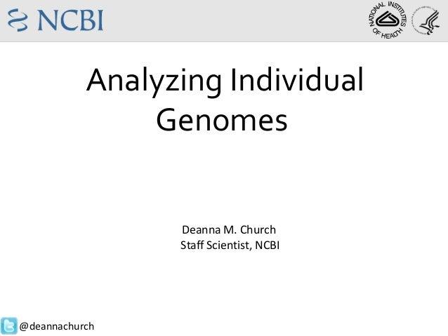 Analyzing Individual Genomes  Deanna M. Church Staff Scientist, NCBI  @deannachurch
