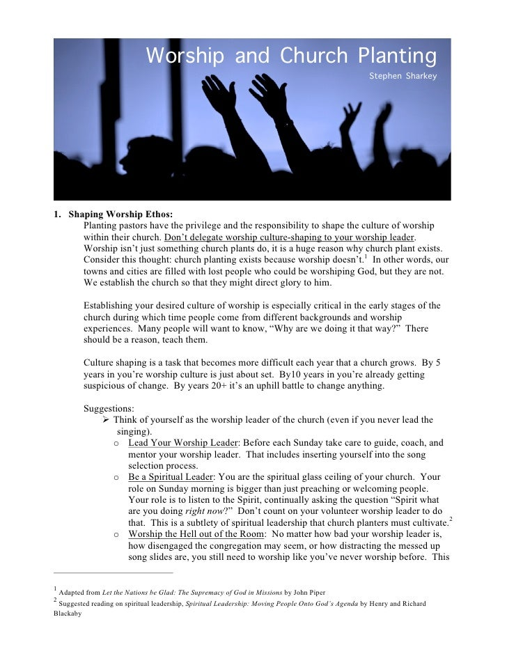 Worship and Church Planting                                                                                               ...